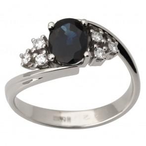 Каблучка з діамантами та кольоровим камінням 981-1429