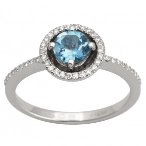 Каблучка з діамантами та кольоровим камінням 981-1544