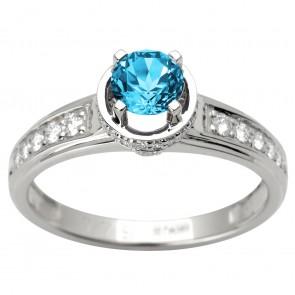 Каблучка з діамантами та кольоровим камінням 981-1600
