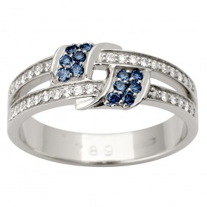 Каблучка з діамантами та кольоровим камінням 981-1602