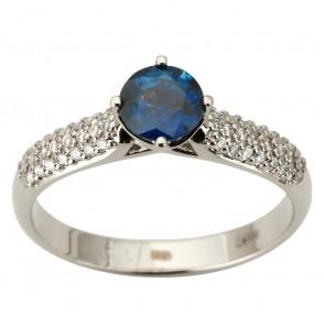 Каблучка з діамантами та кольоровим камінням 981-1887