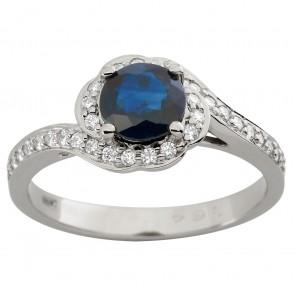 Каблучка з діамантами та кольоровим камінням 981-1901