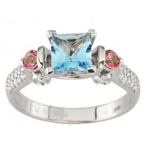 Каблучка з діамантами та кольоровим камінням 981-1985