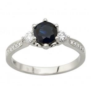 Каблучка з діамантами та кольоровим камінням 981-2056