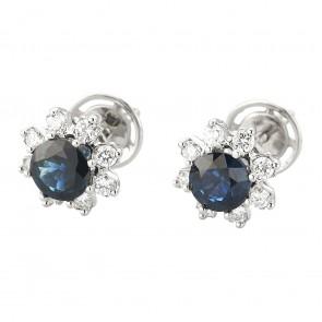 Сережки з діамантами та кольоровим камінням 982-0876