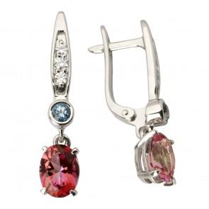 Сережки з діамантами та кольоровим камінням 982-0993