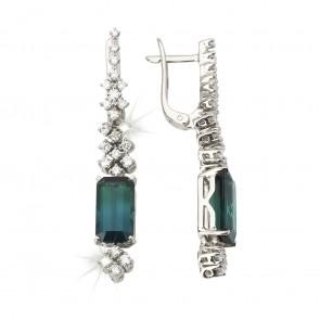 Сережки з діамантами та кольоровим камінням 982-1098