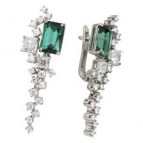 Сережки з діамантами та кольоровим камінням 982-1171