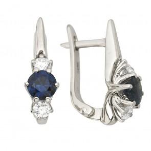 Сережки з діамантами та кольоровим камінням 982-1264