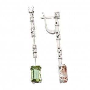 Сережки з діамантами та кольоровим камінням 982-1352