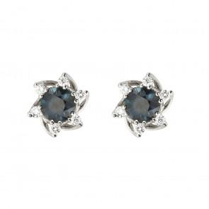 Сережки з діамантами та кольоровим камінням 982-1376