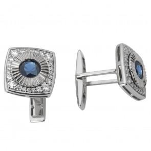 Запонки з діамантами та кольоровим камінням 986-0058