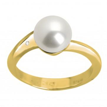Каблучка з перлиною та діамантами 061-0290