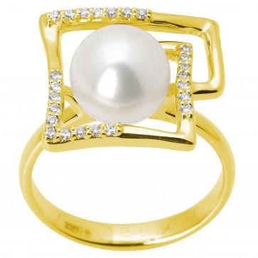 Каблучка з перлиною та діамантами 061-1388