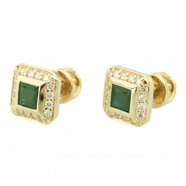 Сережки з діамантами та кольоровим камінням 082-0818