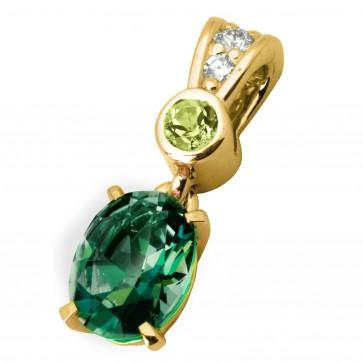 Підвіска з діамантами та кольоровим камінням 089-0701