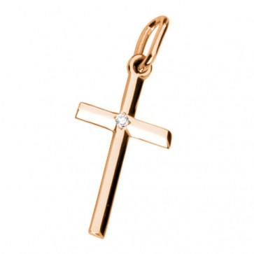 Хрест з 1 діамантом 129-0035