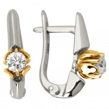 Сережки з 1 діамантом 322-1031