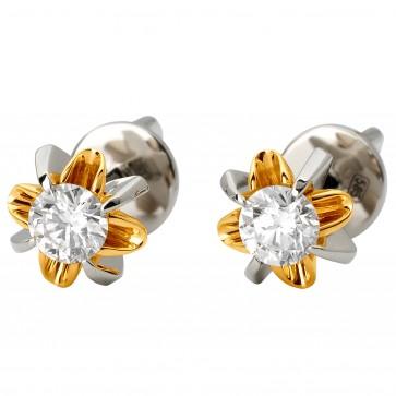 Сережки з 1 діамантом 322-1084