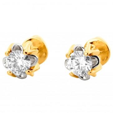 Сережки з 1 діамантом 322-1165