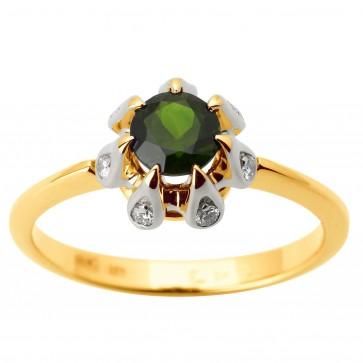 Каблучка з діамантами та кольоровим камінням 381-1797