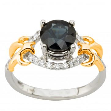 Каблучка з діамантами та кольоровим камінням 381-1991