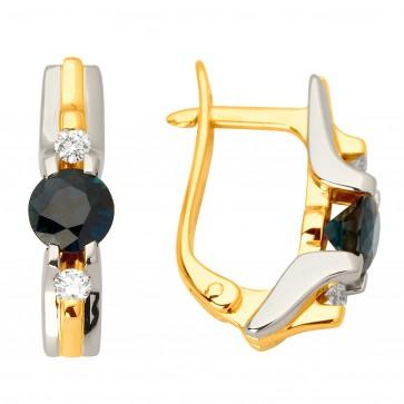 Сережки з діамантами та кольоровим камінням 382-0952