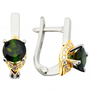 Сережки з діамантами та кольоровим камінням 382-1198