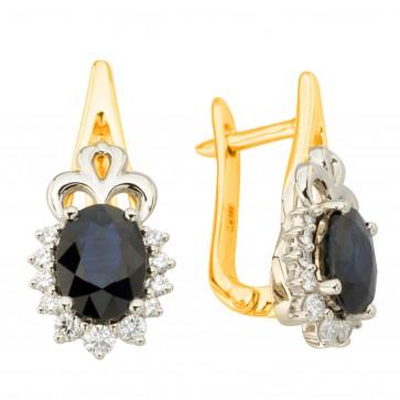 Сережки з діамантами та кольоровим камінням 382-1252