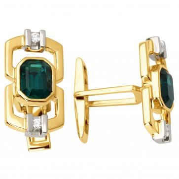 Запонки з діамантами та кольоровим камінням 386-0055