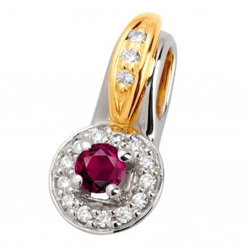 Підвіска з діамантами та кольоровим камінням 389-0618