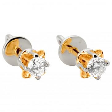 Сережки з 1 діамантом 822-0881