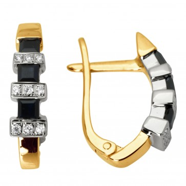Сережки з діамантами та кольоровим камінням 882-0448