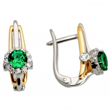 Сережки з діамантами та кольоровим камінням 882-0934