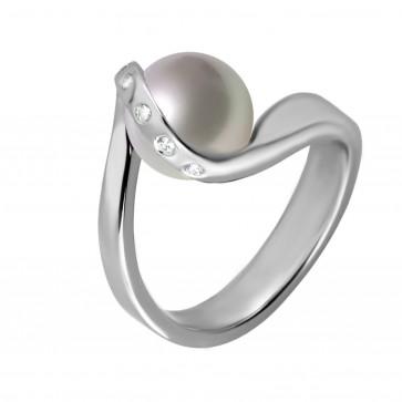 Каблучка з перлиною та діамантами 961-0225