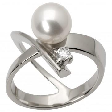 Каблучка з перлиною та діамантами 961-1488