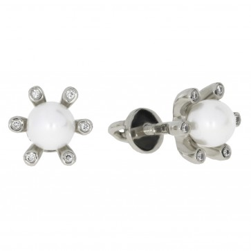 Сережки з перлиною та діамантами 962-0147