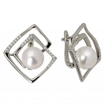 Сережки з перлиною та діамантами 962-0673
