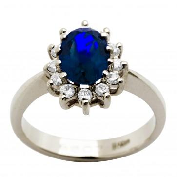 Каблучка з діамантами та кольоровим камінням 981-0721