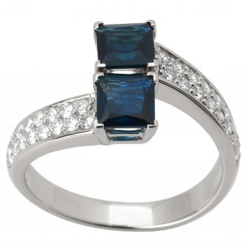 Каблучка з діамантами та кольоровим камінням 981-0806