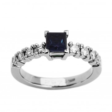 Каблучка з діамантами та кольоровим камінням 981-0865
