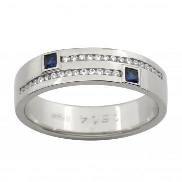 Обручка з діамантами та кольоровим камінням 981-1516