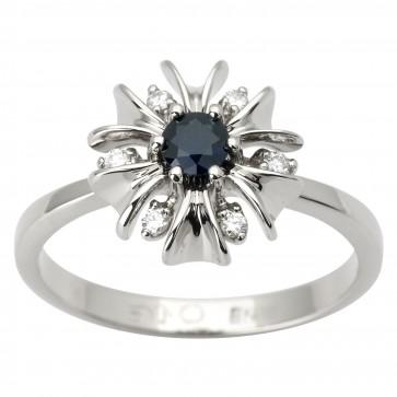 Каблучка з діамантами та кольоровим камінням 981-1604