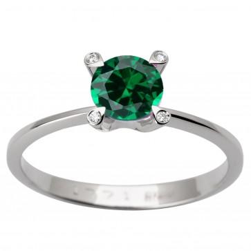 Каблучка з діамантами та кольоровим камінням 981-1608
