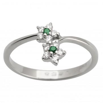 Каблучка з діамантами та кольоровим камінням 981-1616