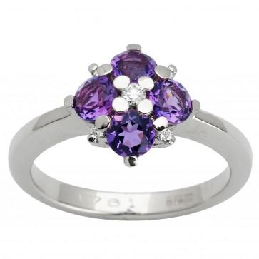 Каблучка з діамантами та кольоровим камінням 981-1622