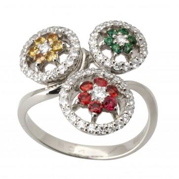 Каблучка з діамантами та кольоровим камінням 981-1703