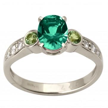 Каблучка з діамантами та кольоровим камінням 981-1737