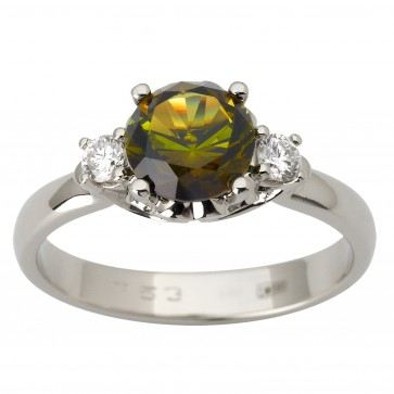 Каблучка з діамантами та кольоровим камінням 981-1810