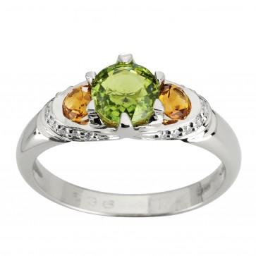 Каблучка з діамантами та кольоровим камінням 981-1919
